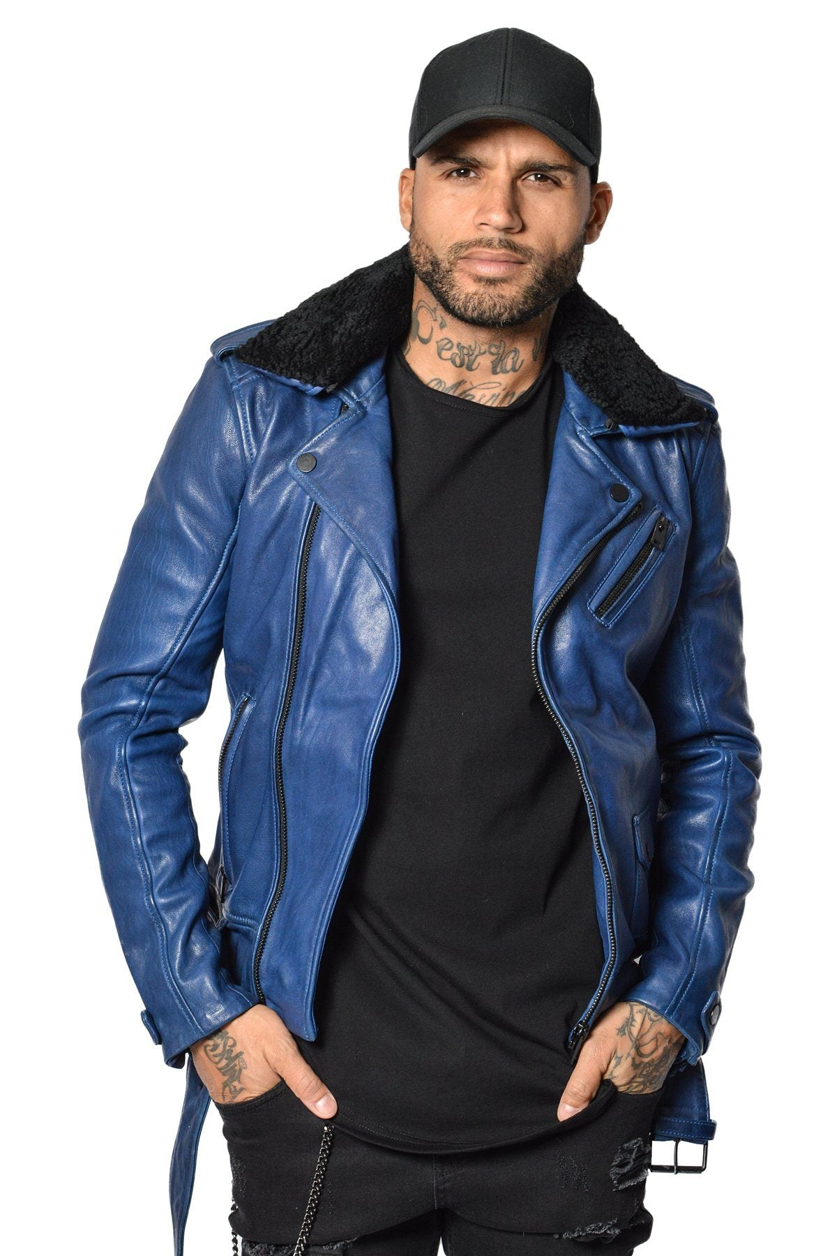 Cesaro Leather Jacket Electric Blue Sale Jacket Avior