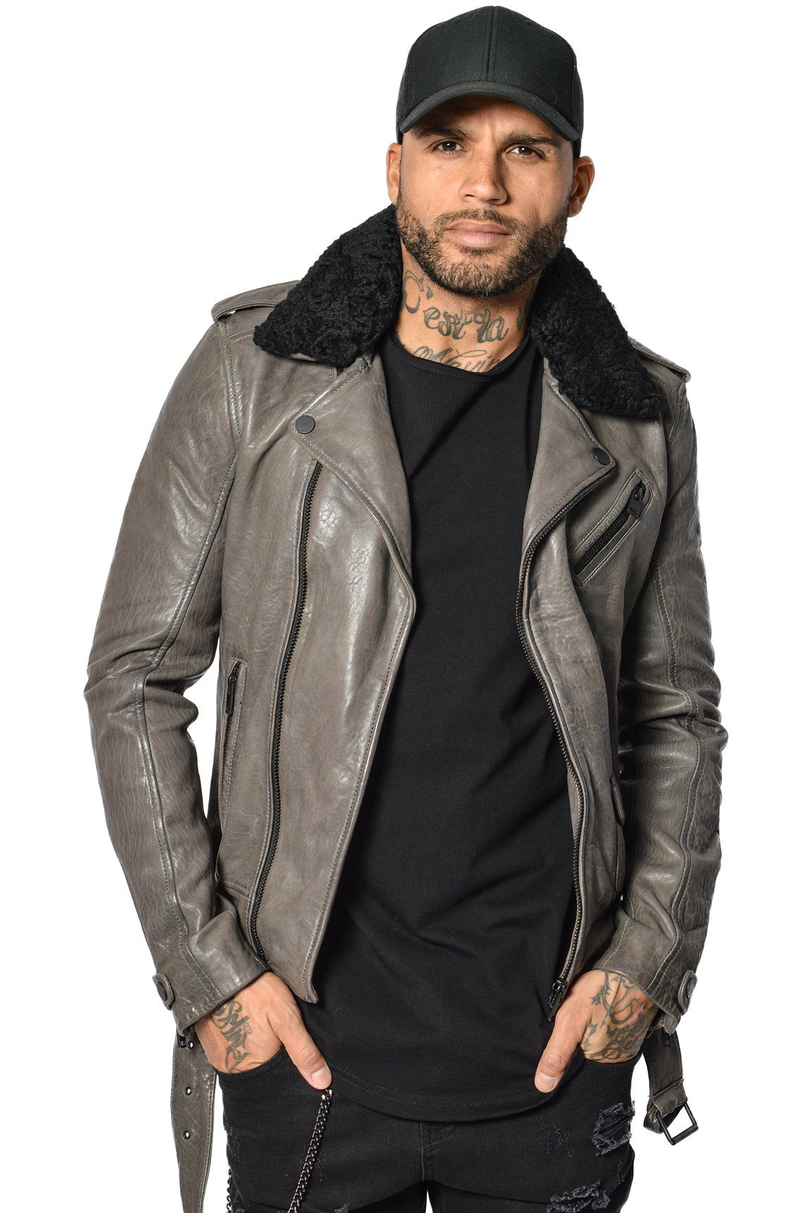 Cesaro Leather Jacket Grey Sale Jacket Avior