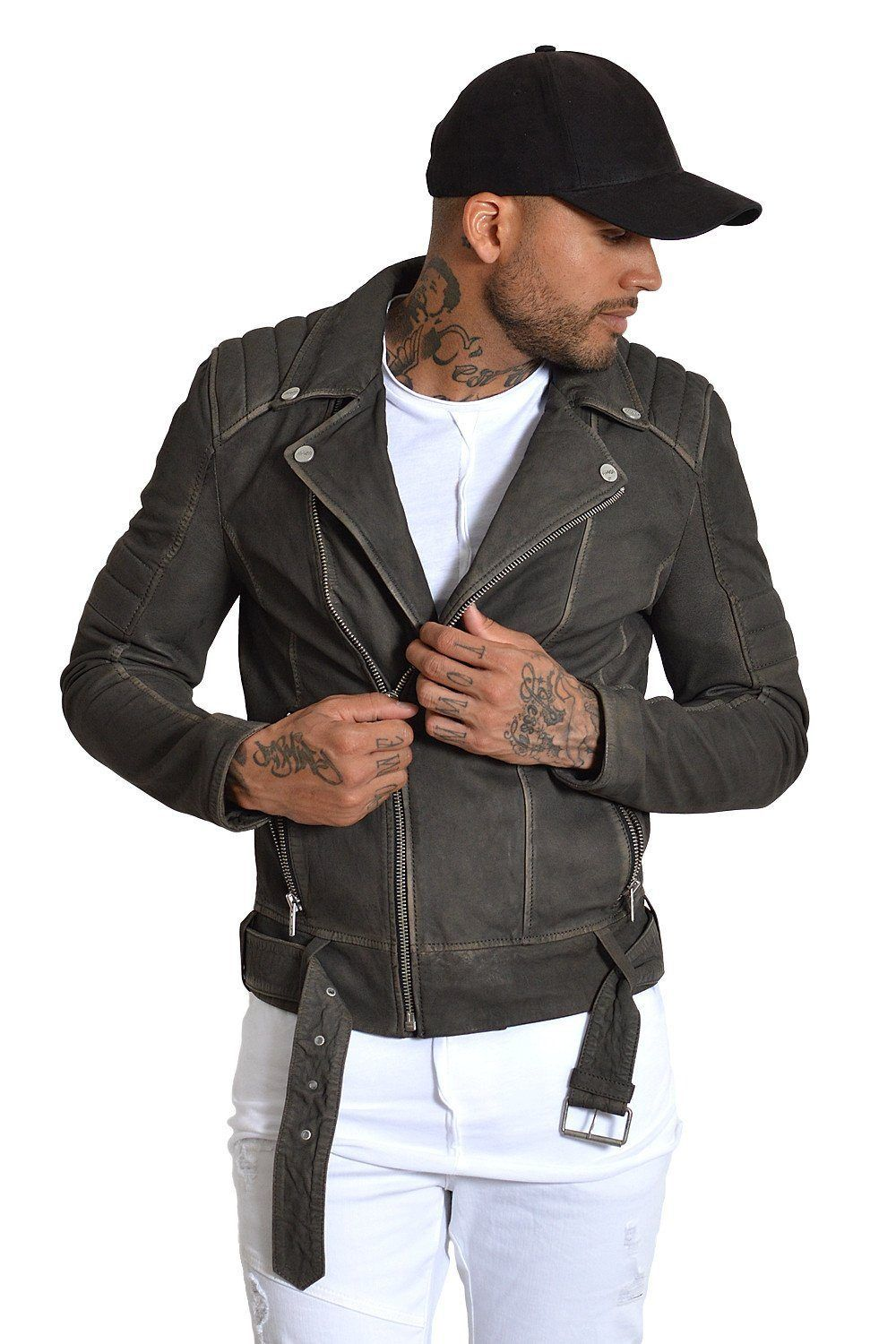 Biker Nubuk Leather Jacket Grey Sale Jacket Avior