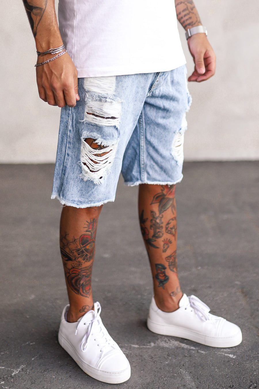Destroyed Denim Shorts K5121