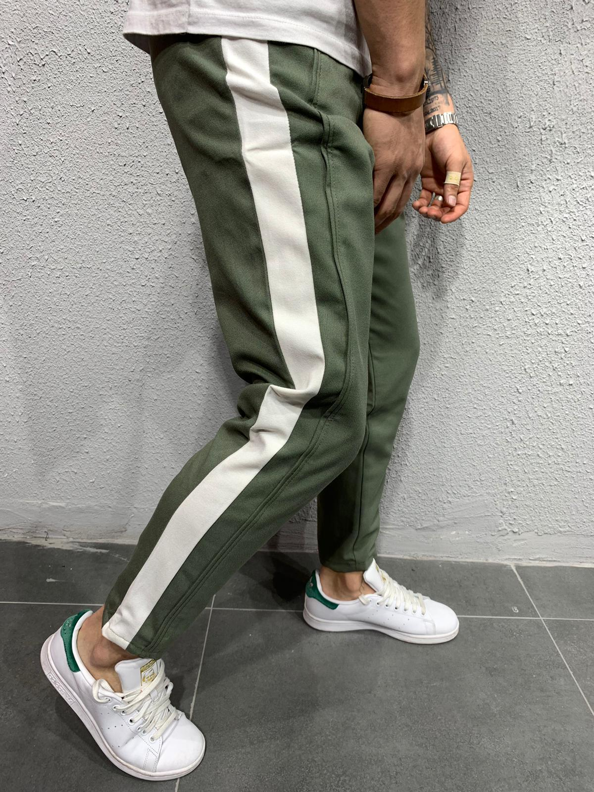 Cropped pants with stripes P1043A