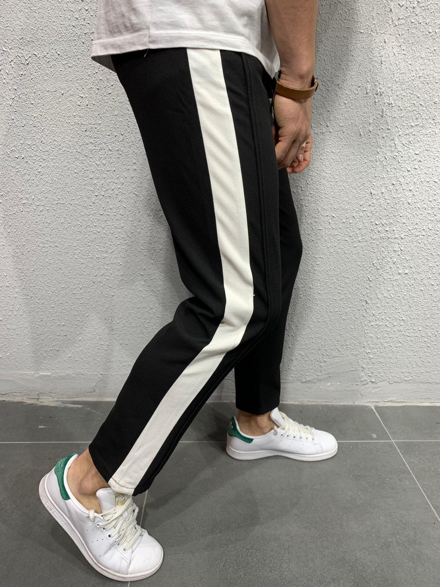 Cropped pants with stripes P1043B