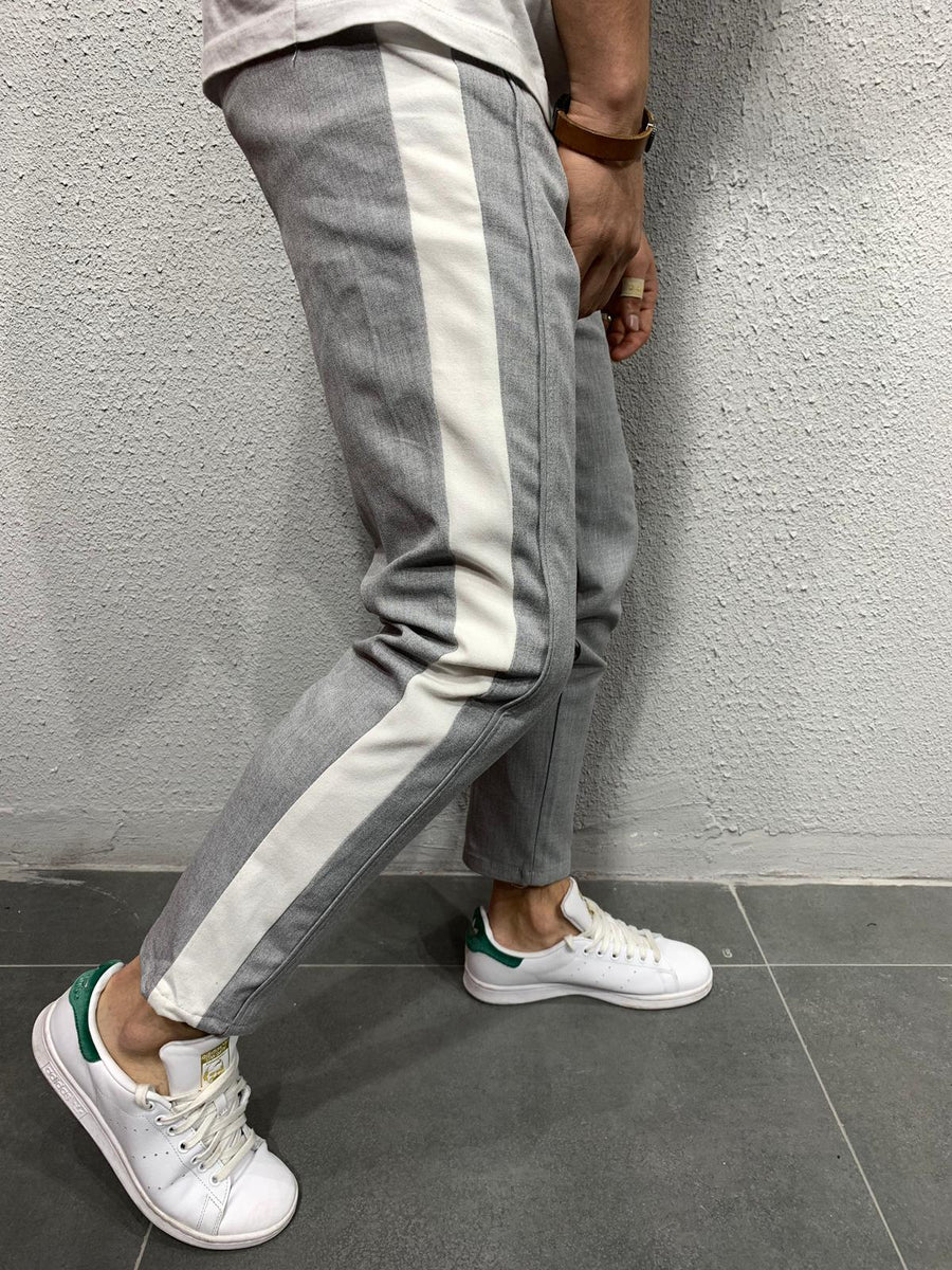 Cropped pants with stripes P1043G