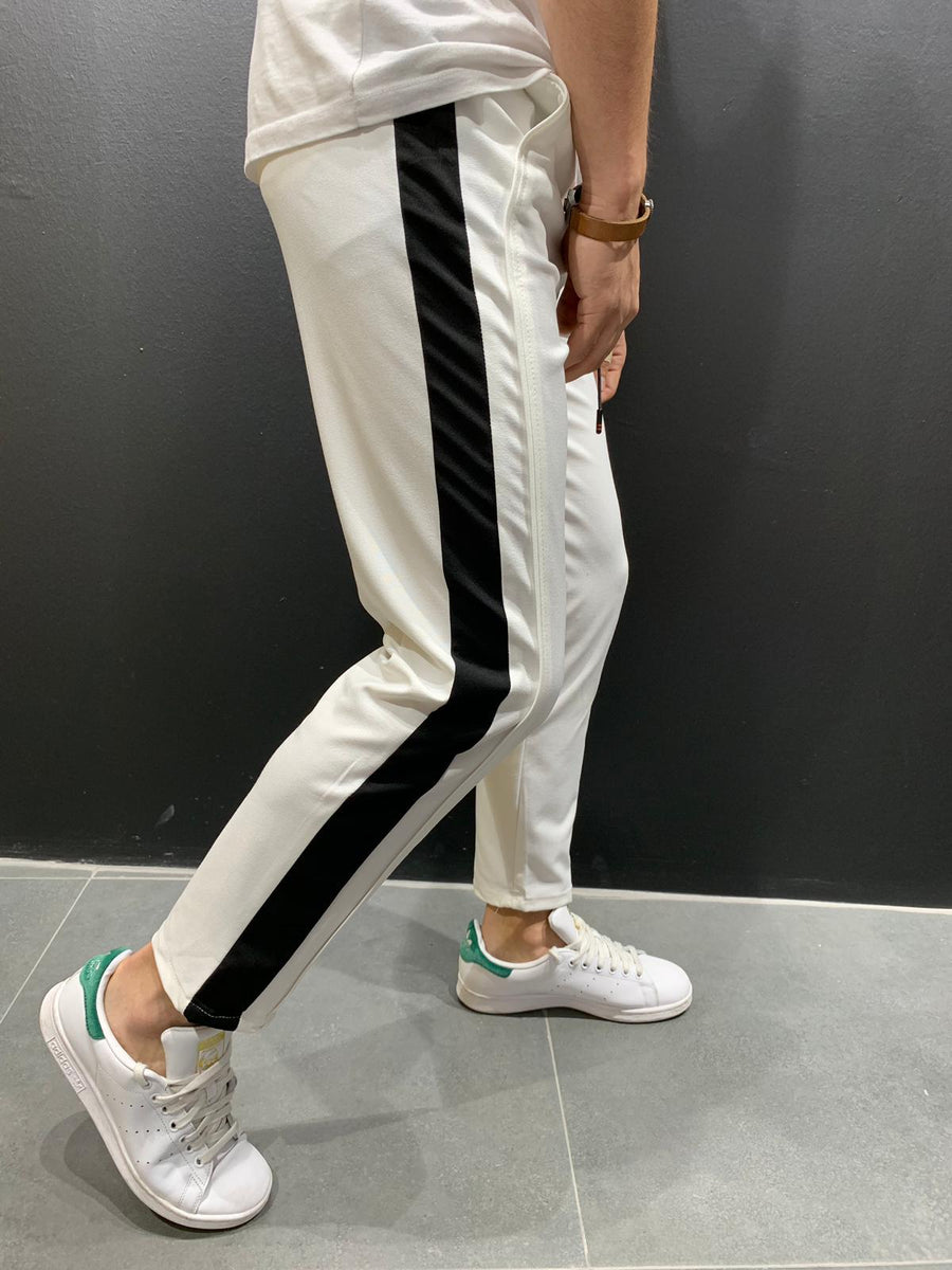 Cropped pants with stripes P1043W