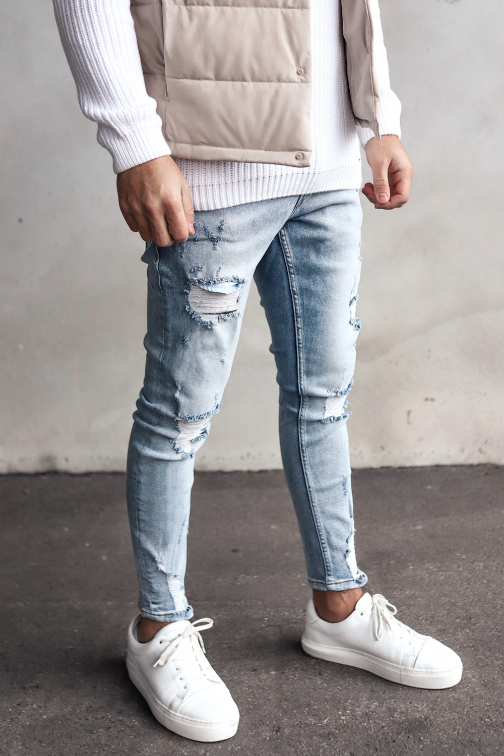 Destroyed Skinny Cropped Denim YY0069