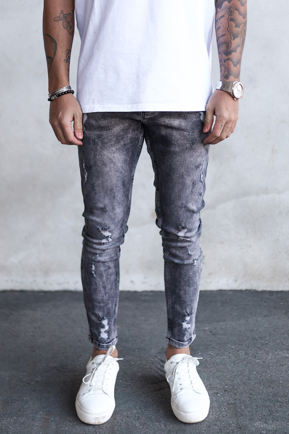 Destroyed Skinny Cropped Denim B5267