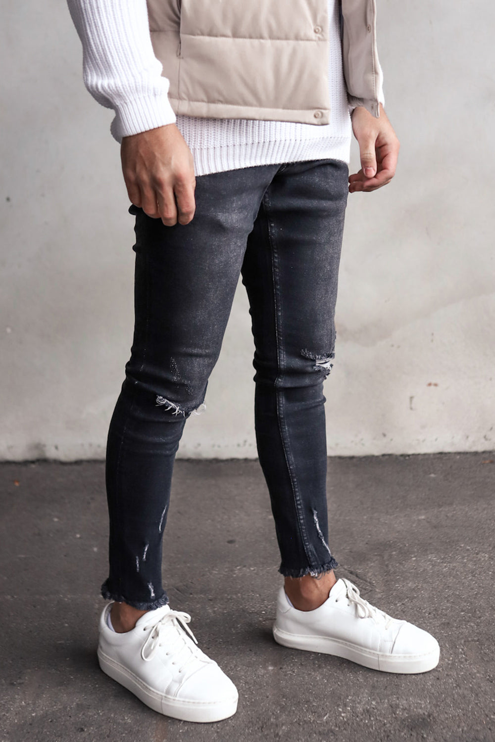Destroyed Skinny Cropped Denim YY0064