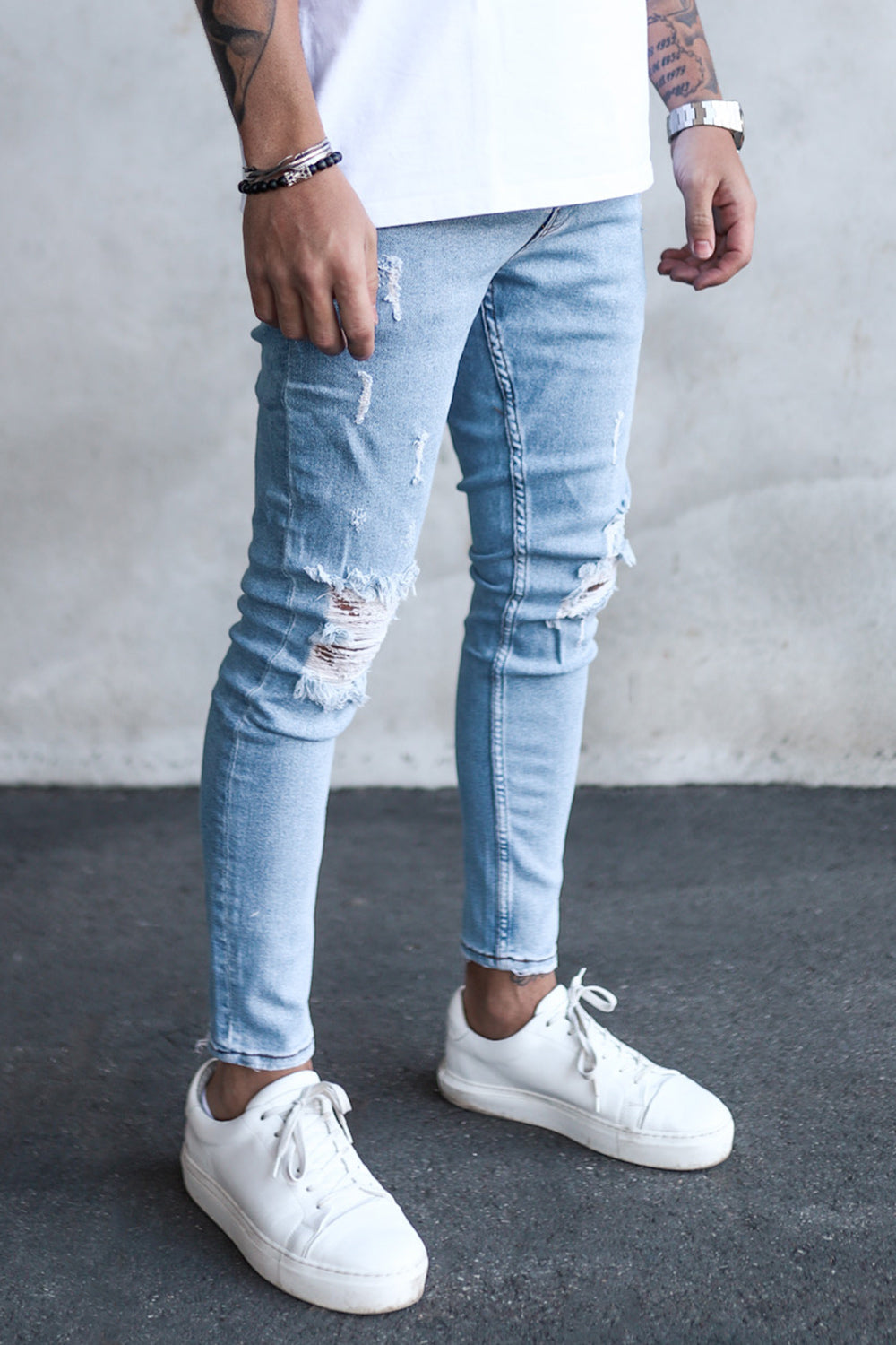 Destroyed Cropped Skinny Denim B5453-1