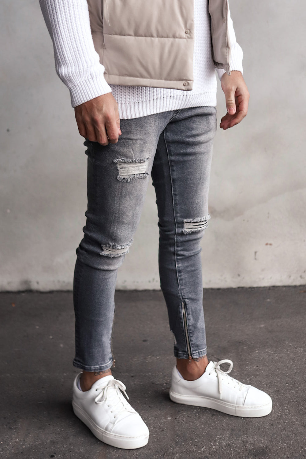 Destroyed Skinny Cropped Denim YY0067