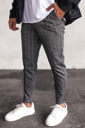 Cropped Pants Pinstripe Snow P1044B