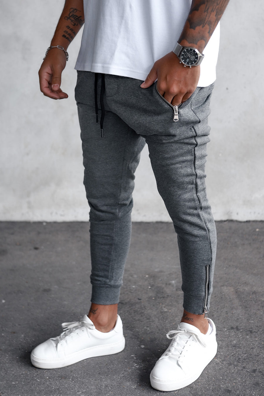 Cropped Sweat Pants with Zip Detail YY1005G