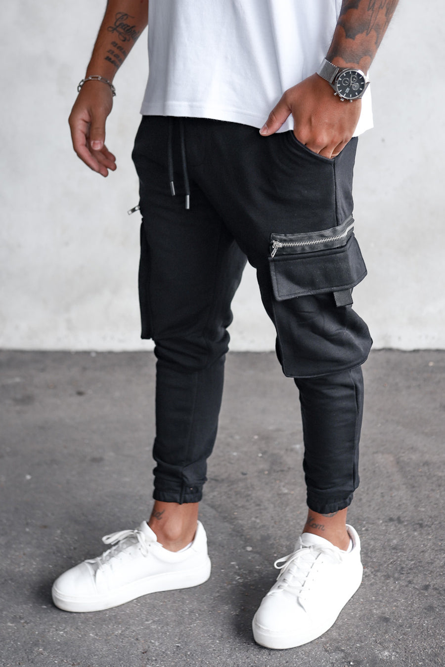 Cargo Sweat Pants With Zip Detail YY1000B