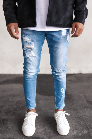 Destroyed Cropped Skinny Denim B5325