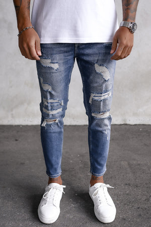 Destroyed Skinny Cropped Denim i0054