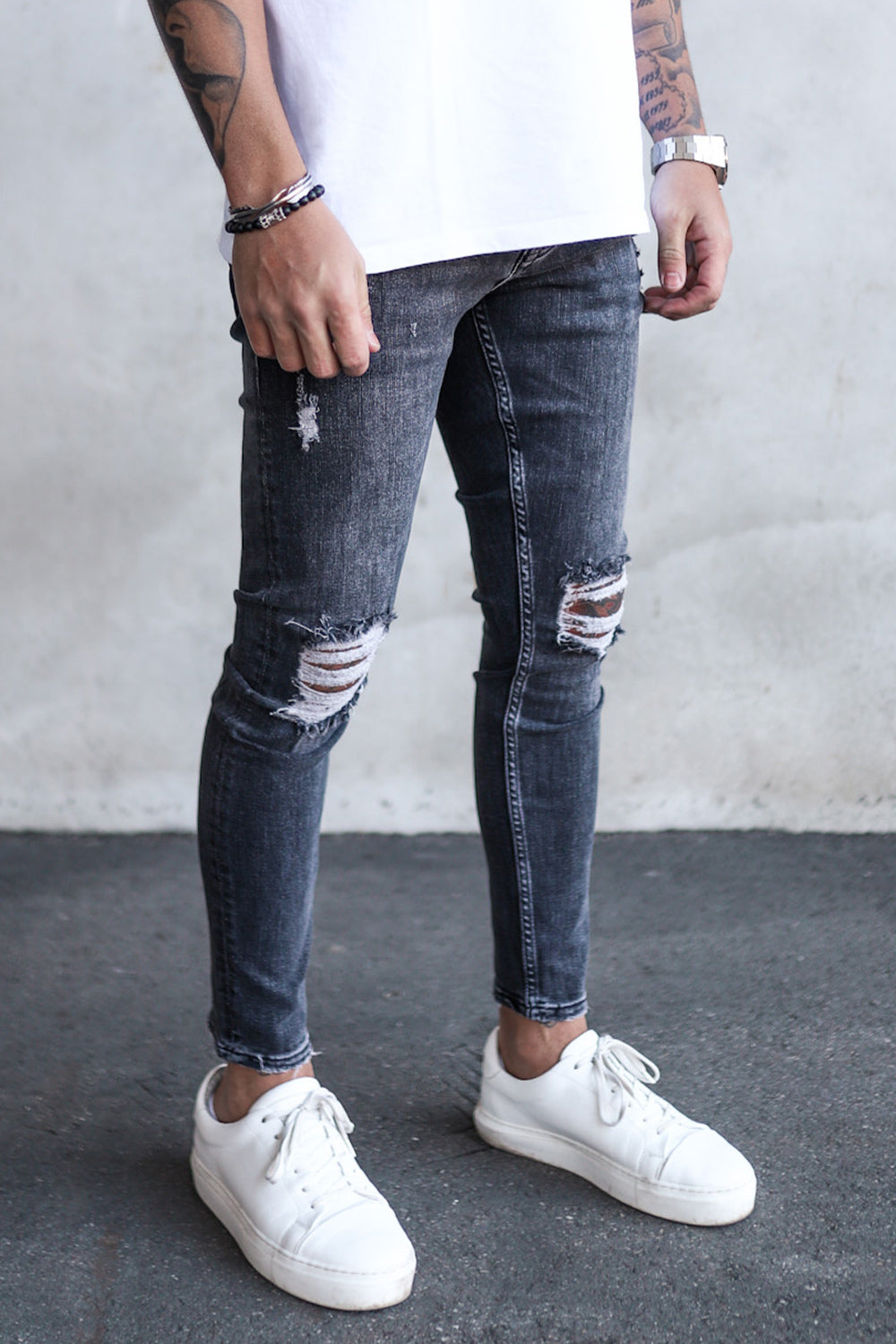 Destroyed Skinny Cropped Denim N5954