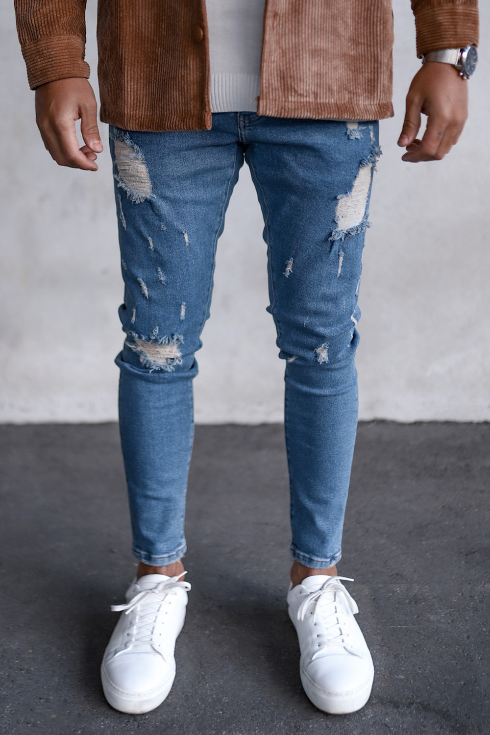 Destroyed Skinny Cropped Denim B5473