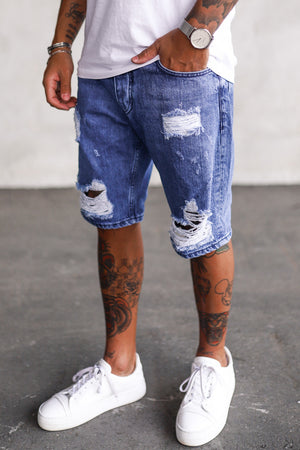 Destroyed Denim Shorts K5193