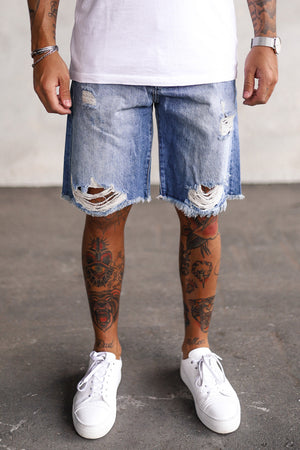 Destroyed Denim Shorts K5161