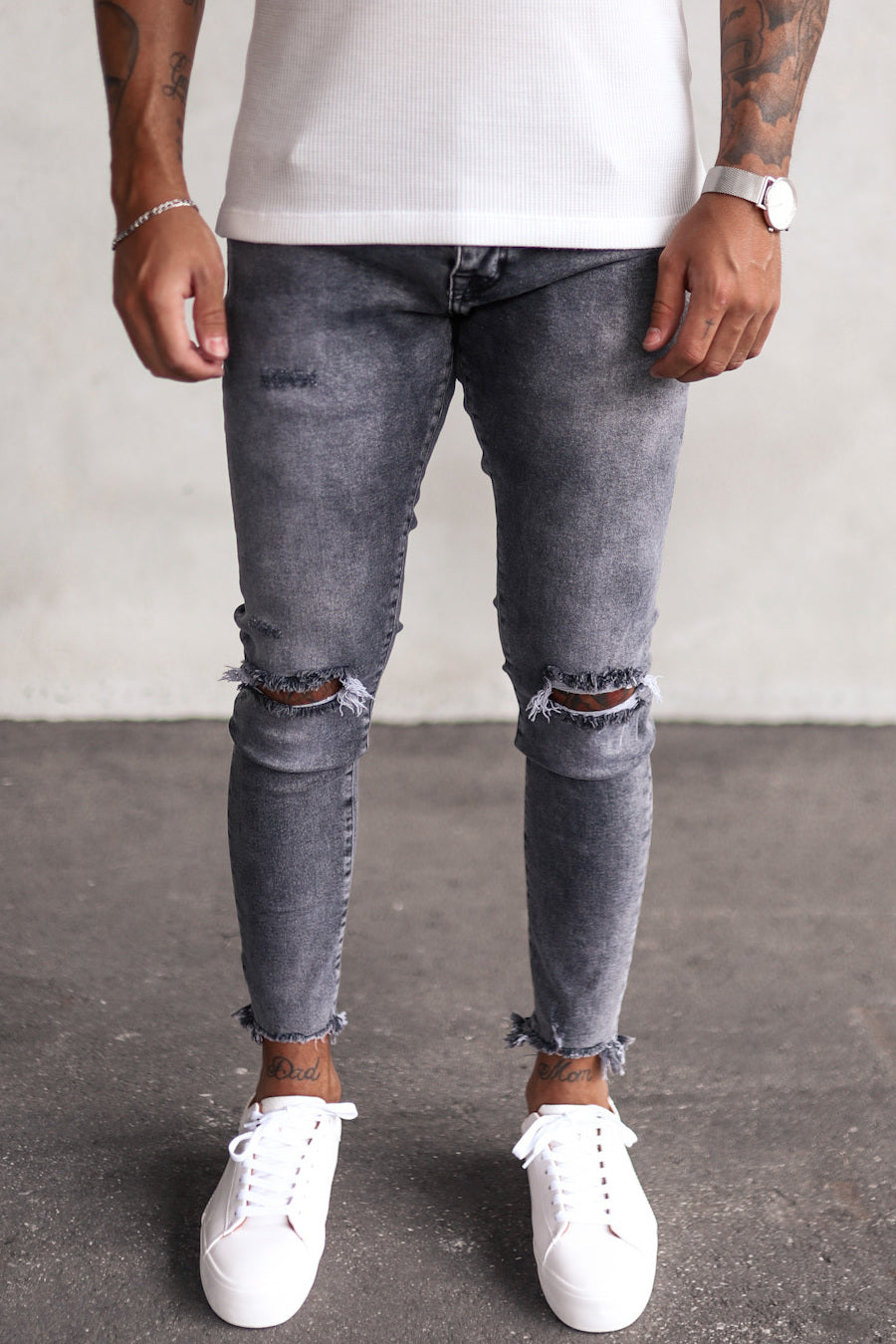 Destroyed Skinny Cropped Denim YY0060
