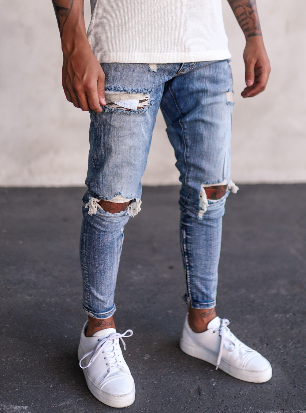 Destroyed Slim Fit Denim YY0059