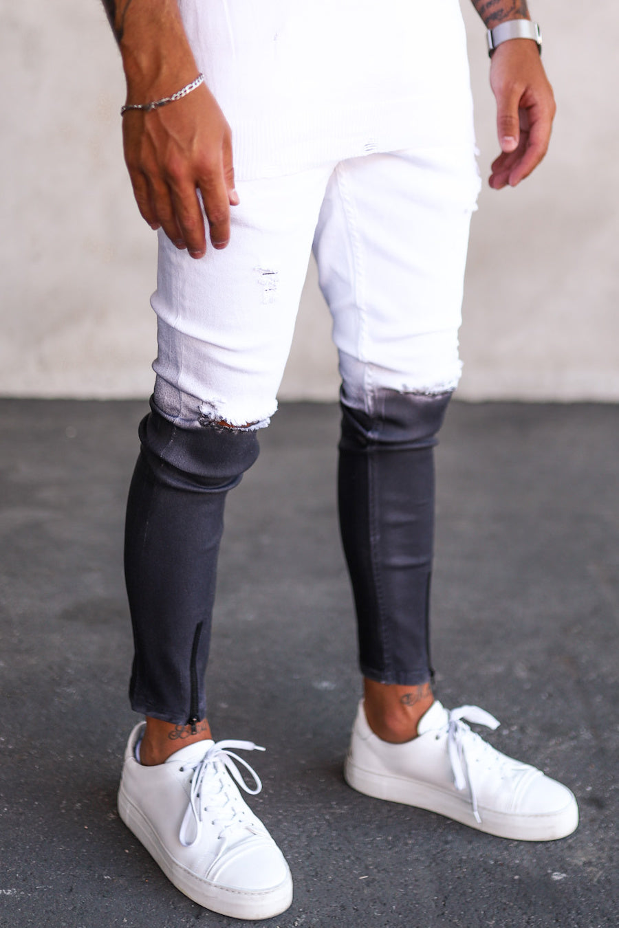 Destroyed Skinny Cropped Denim B5184-2
