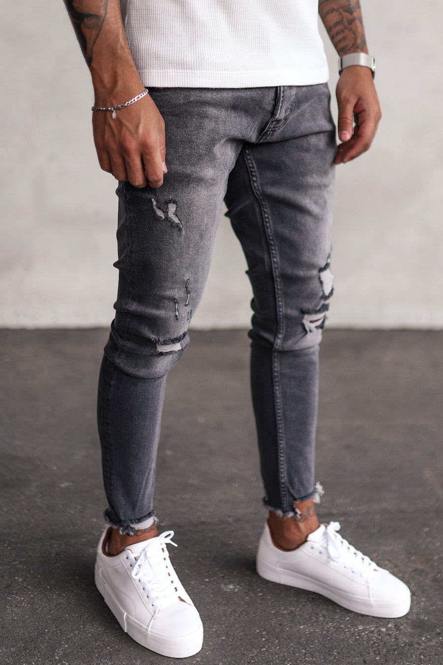 Destroyed Skinny Cropped Denim YY0065