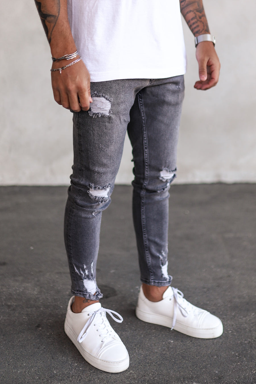 Destroyed Skinny Cropped Denim B5263