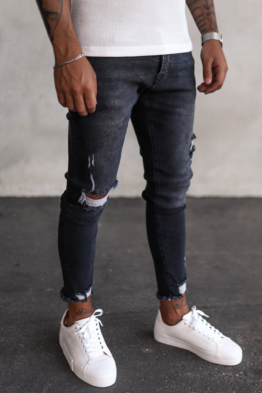 Destroyed Skinny Cropped Denim YY0062