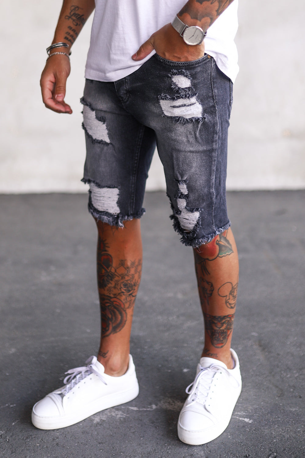 Destroyed Skinny Denim Shorts 0047