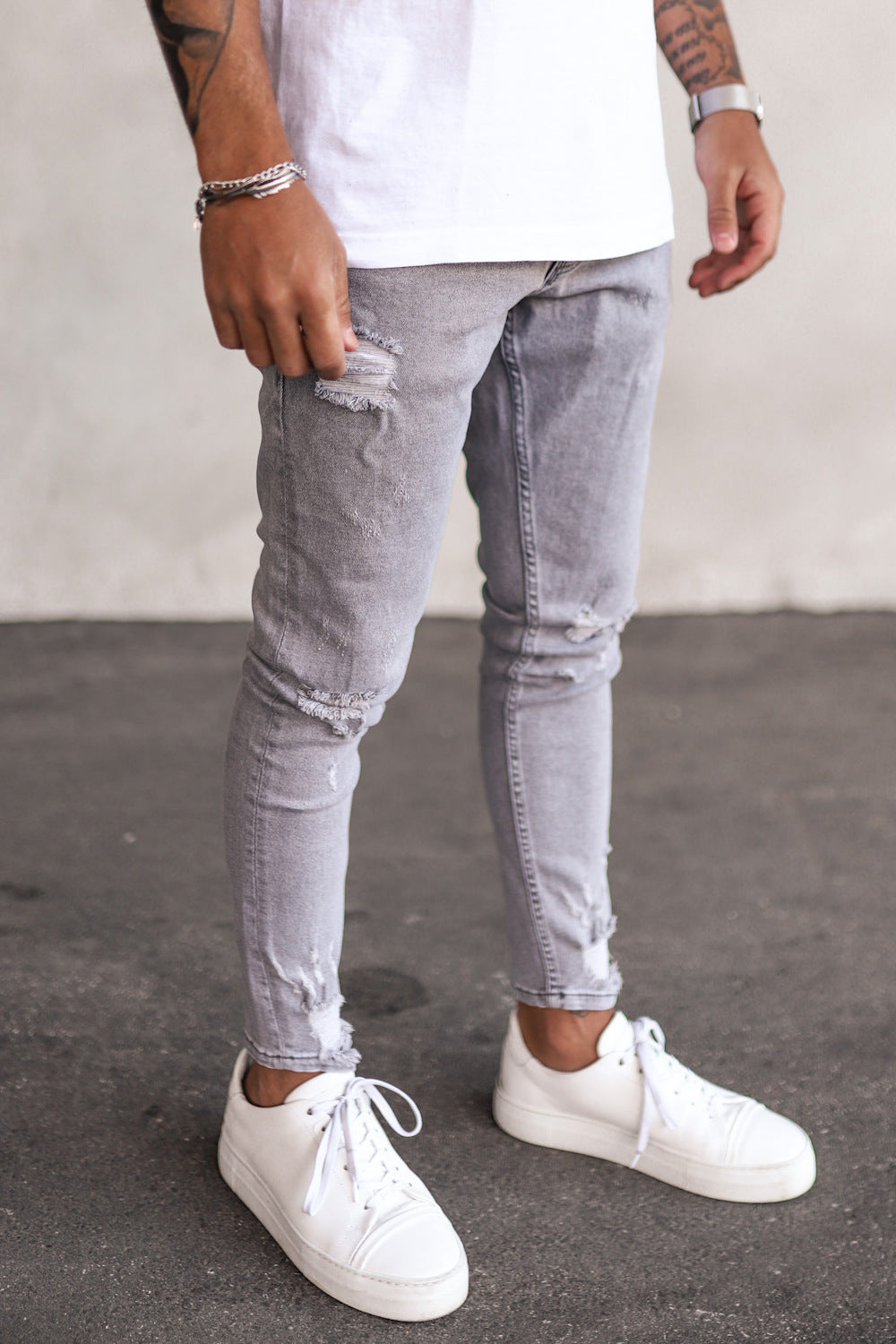Destroyed Skinny Cropped Denim B5289-X