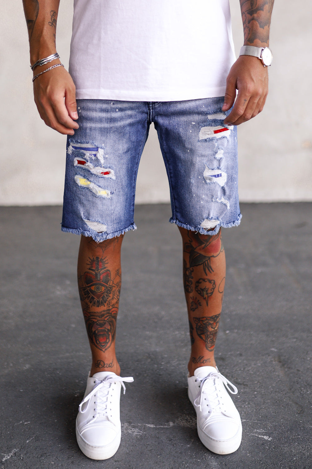 Destroyed Skinny Denim Shorts K5101