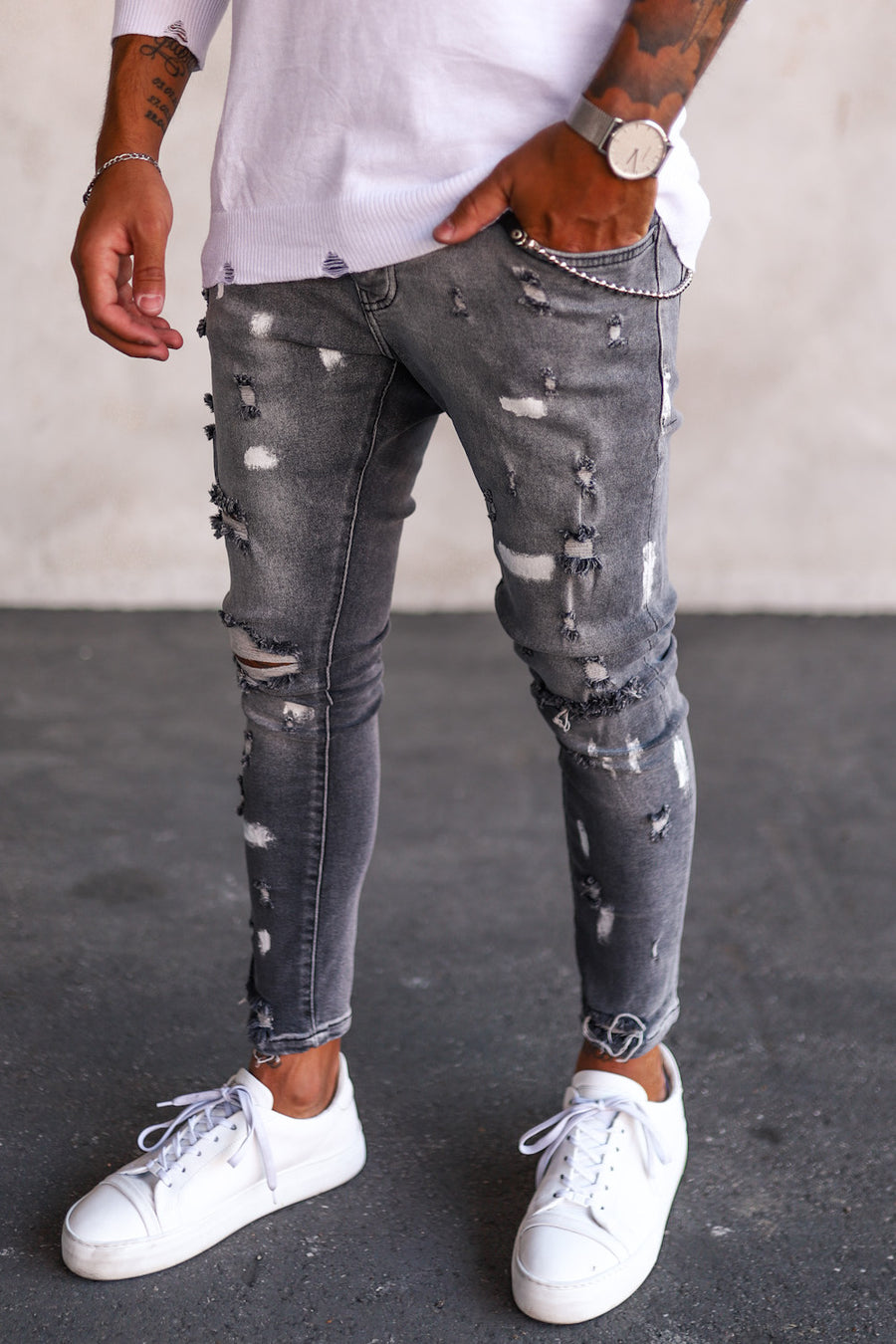 Destroyed Skinny Cropped Denim B5188