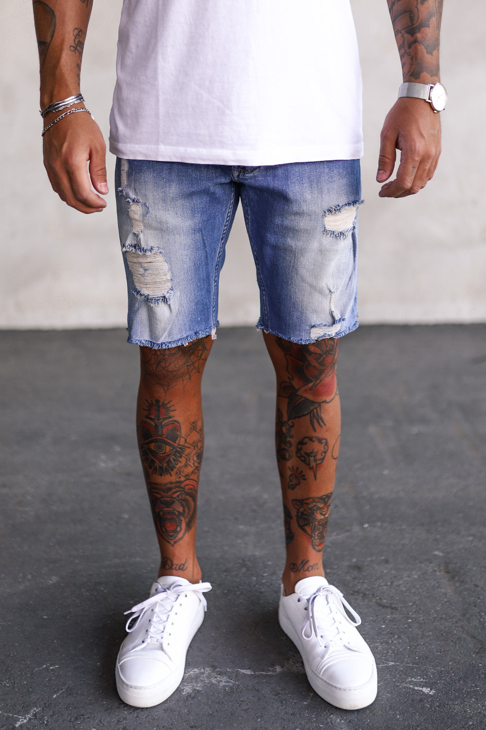 Destroyed Skinny Denim Shorts B4319
