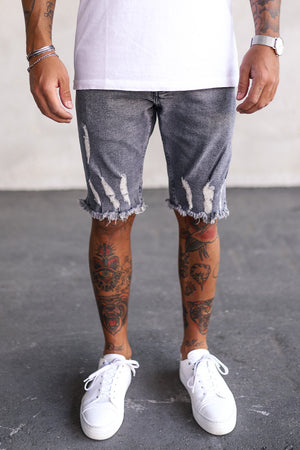 Destroyed Skinny Denim Shorts K5116