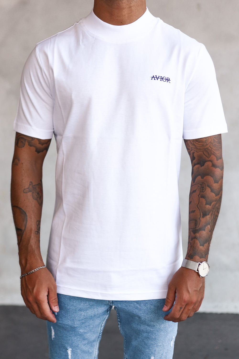 High Neck Shirt White T6002W