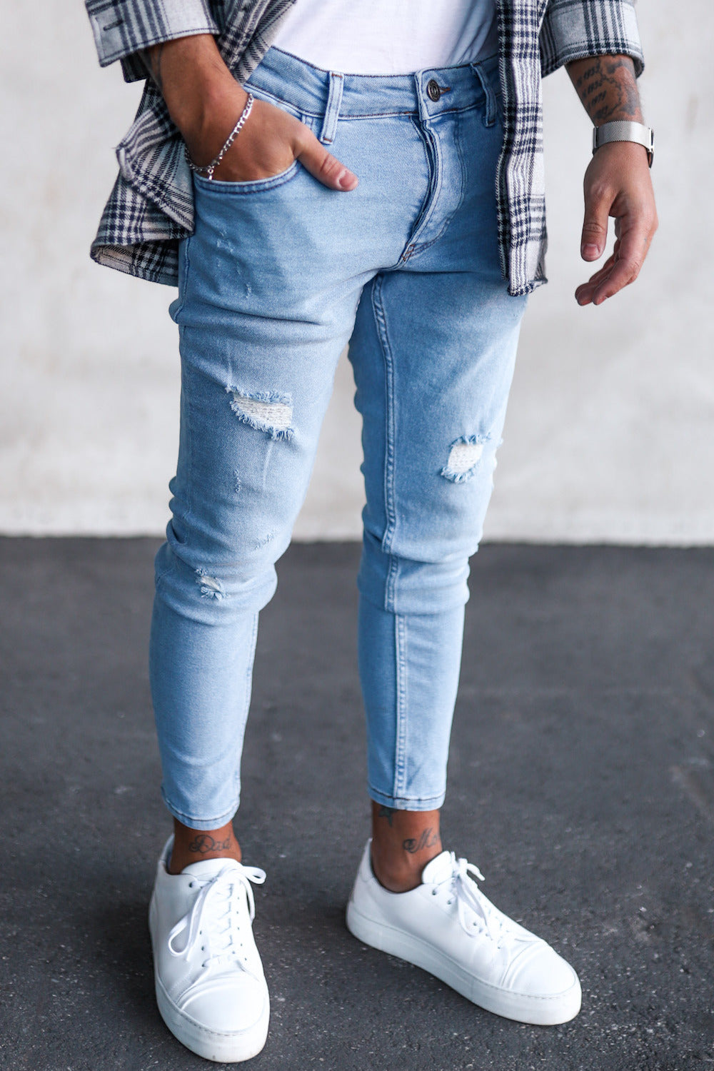 Destroyed Skinny Cropped Denim B5108