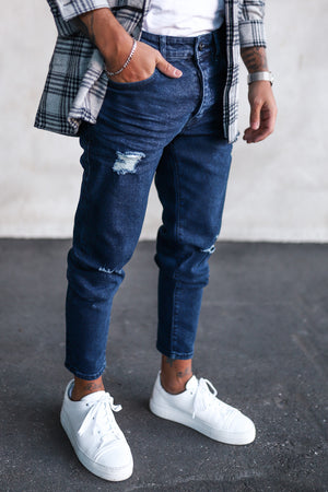 Destroyed Tapered Denim B4957
