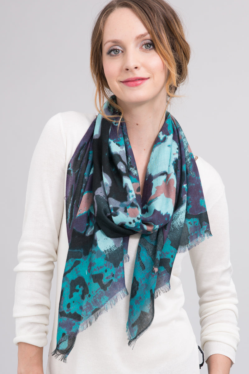 Hand Dyed Silk Modal Blend Scarf in Jade Floral