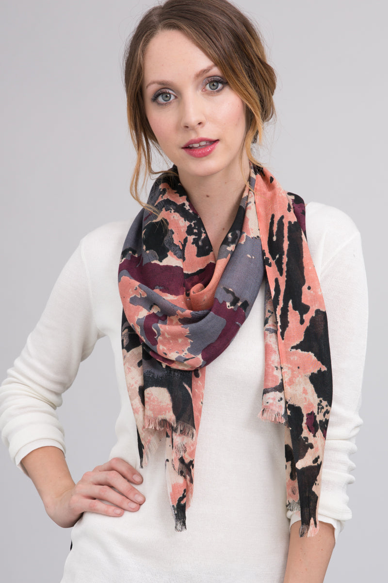 Hand Dyed Silk Modal Blend Scarf in Bisque Floral