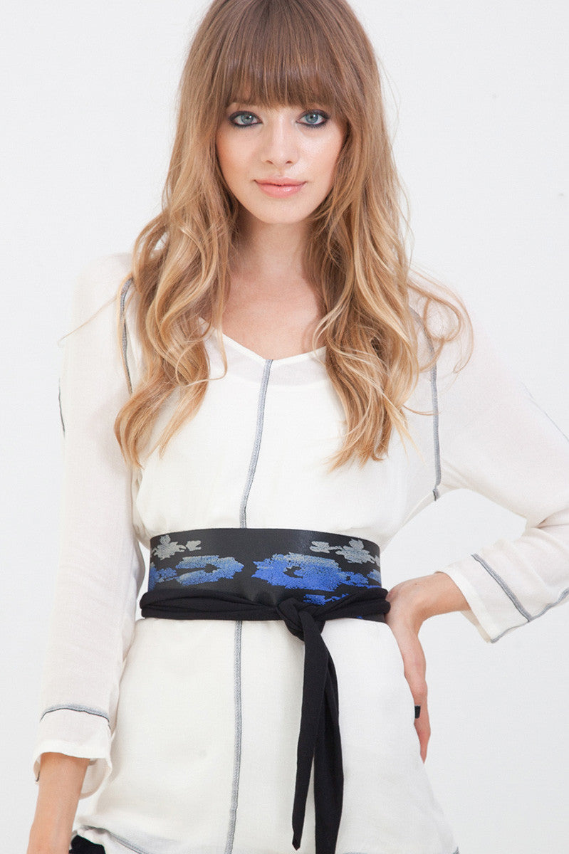 Wide Leather Belt in Black with Cobalt Blue Geo Block Print - One Size Fits XS-XL