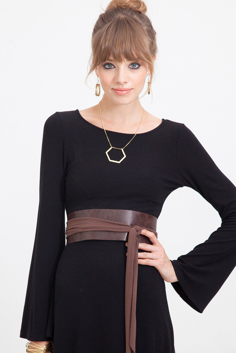 WIDE LEATHER BELT IN Espresso - One Size Fits XS-XL
