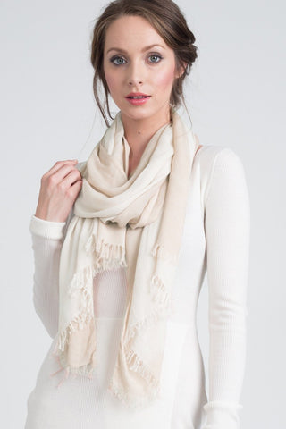 Hand Dyed Cashmere Modal Blend Scarf in Solid Almond Crème