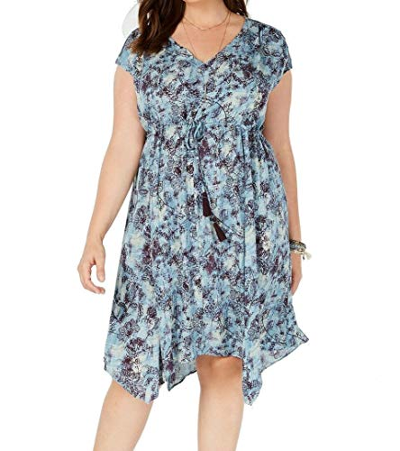 Style & Co. Womens Plus Tie-Front Asymmetrical Babydoll Dress
