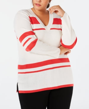 Calvin Klein Plus Size Striped V-Neck Sweater