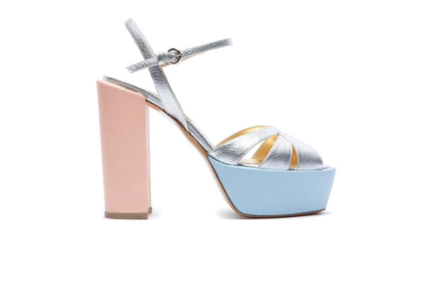 ENVY silver, light blue and blush pink grained leather flanged platform pump with a 11 cm heel. Summery and fresh. Walter Steiger, 2016 spring summer collection.