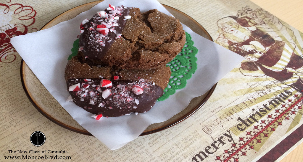 Chocolate Dipped Chewy Medicated Molasses Cookies