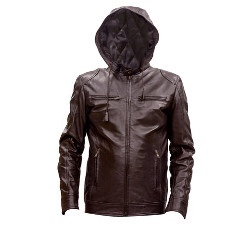 Leather Hoodie Jacket
