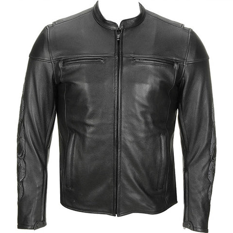 Black Leather Jacket With Front 2 Pockets