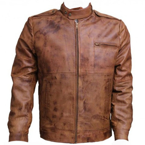 Distressed Brown Mens Vintage Leather Jacket