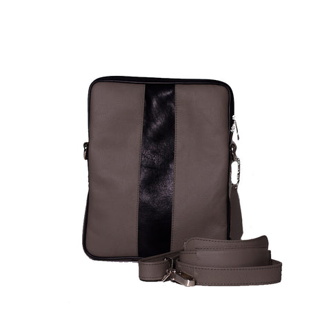 Leather Shoulder Bag In Grey